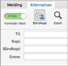 Hvis du vil aktivere Blindkopi-feltet, åpner du en ny melding, velger Alternativer-fanen, og klikker på Blindkopi.