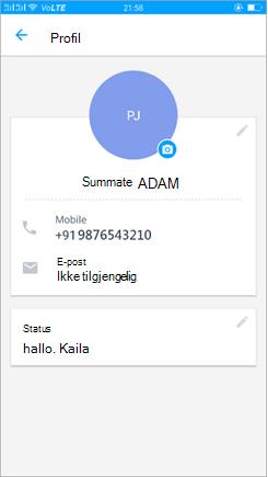 Skjerm bilde av profil for å oppdatere status innstillingen