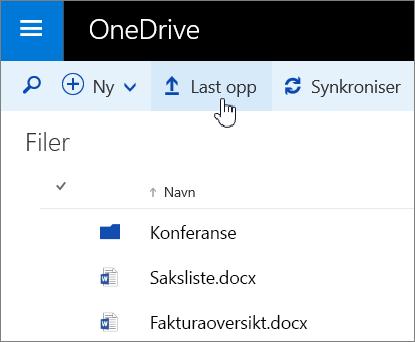 Skjermbilde av Last opp-knappen i OneDrive for Business i Office 365