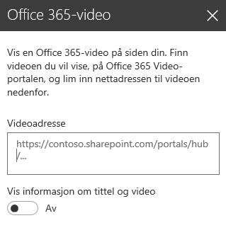 Skjermbilde av dialogboksen Office 365-videoadresse i SharePoint.