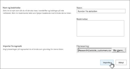Dialogboksen Ny app med navn og filplassering fylt ut, og Importer uthevet