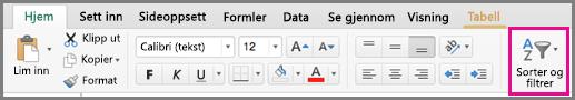 Kommandoen Sorter og filtrer i Excel for Mac