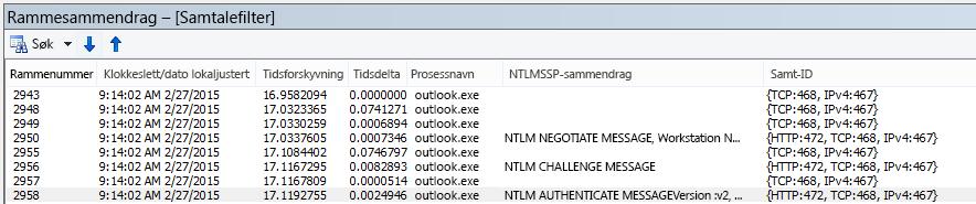 Netmon-sporing som viser proxy-godkjenning, filtrert etter samtale.