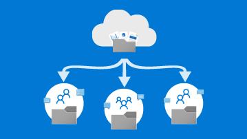 Lagre filer i miniatyrbilde for OneDrive-infografikk – mapper i skyen delt med flere personer