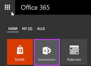 Viser startprogrammet for apper i Office 365 med Administrator uthevet.