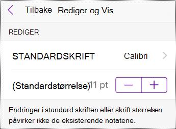 Endre alternativer for skrifttype og tekststørrelse i Innstillinger i iPhone.
