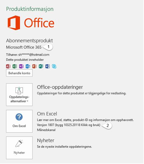 Konto-siden som inneholder bruker- og produktinformasjon