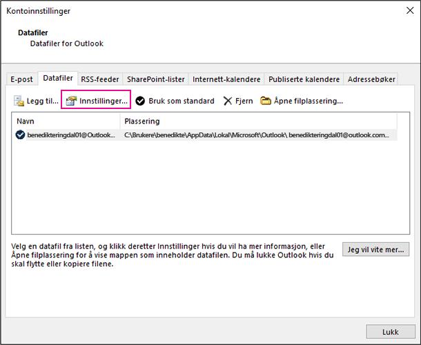 Endre datafilinnstillingene for en Exchange-konto i Kontoinnstillinger