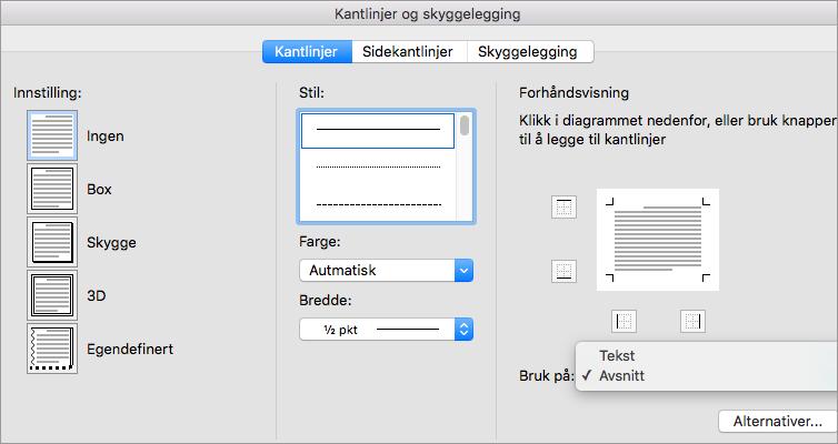 Kantlinje-fanen i boksen Kantlinjer og skyggelegging vises.