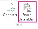 Knappen Endre datakilde på fanen Analyser i Pivottabellverktøy