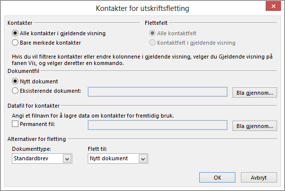 Klikk på Utskriftsfletting på Hjem-fanen i Kontakter-mappen for å starte en utskriftsfletting