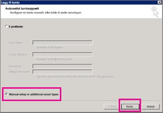 Bruk manuelt oppsett i Outlook 2013