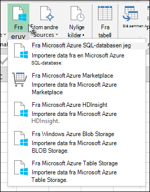 Power Query Import fra Azure-dialogboks