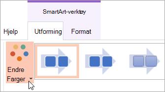 Viser knappen Endre farger i kategorien Utforming
