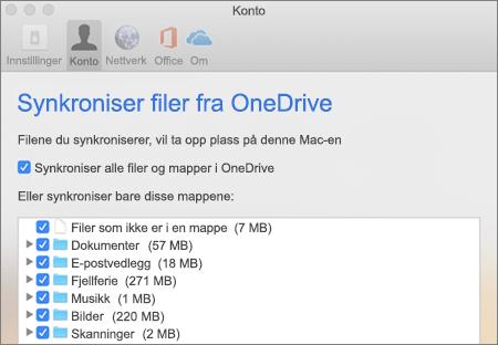 Dialogboksen Synkronisere mapper for OneDrive for Mac