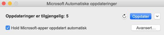 Vinduet for Microsoft Automatiske oppdateringer, når oppdateringer er tilgjengelige.