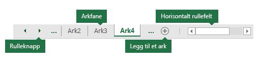 Excel-arkfaner som vist nederst i Excel-ruten