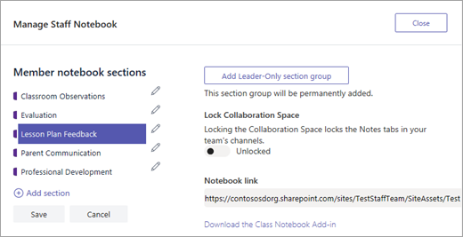 Behandle innstillinger for Staff Notebook i Microsoft Teams.