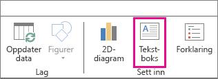Tekstboks-knappen på Hjem-fanen i Power Map