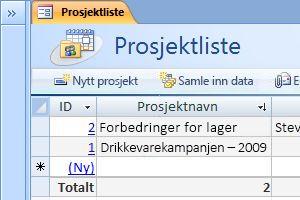 Prosjektenes databasemal
