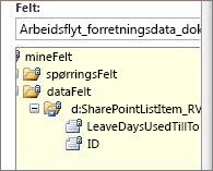 Merk datafelter-listen