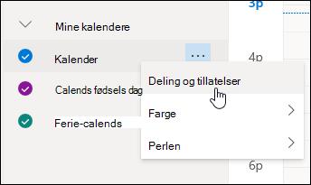 Et skjermbilde av markøren som holdes over Deling og tillatelser på hurtigmenyen for kalender