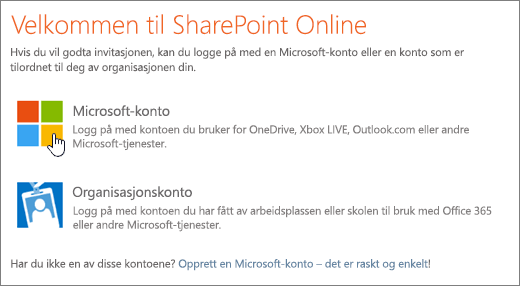 Et skjermbilde som viser påloggingsskjermen for SharePoint Online.