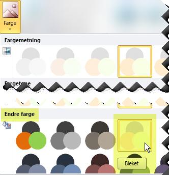 Klikk på Farge-knappen, og velg deretter Utvasking under Endre farge