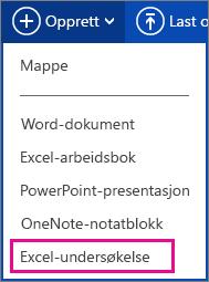 Opprette Excel-undersøkelse