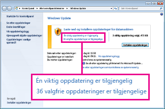 Koblinger i Windows Update-ruten