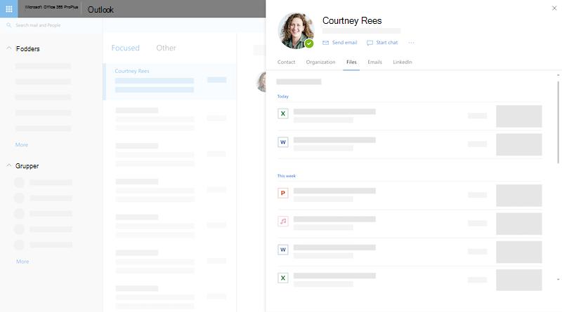 Profilkort på he web i Outlook
