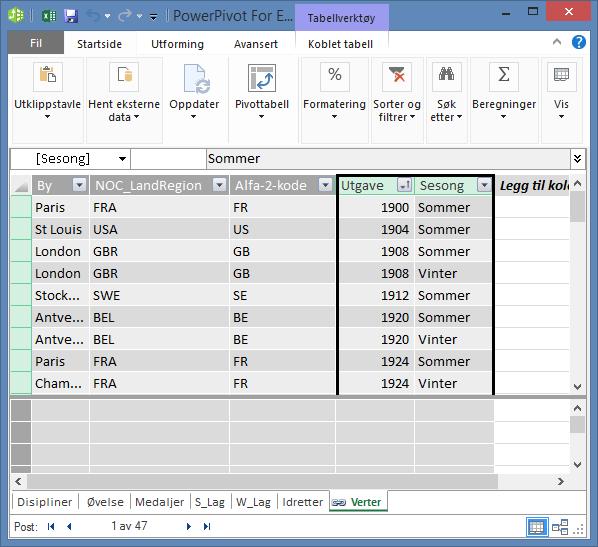 Verter-tabellen med Utgave og Sesong merket