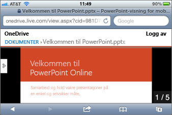 Lysbildefremvisning i Mobile Viewer for PowerPoint