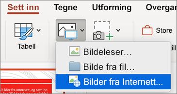 Sett inn-menyen viser kommandoen for bilder fra Internett
