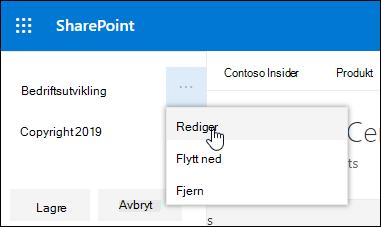 Redigere eksisterende kobling eller etikett i en bunn tekst på et kommunikasjons område i SharePoint.