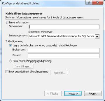 Dialogboksen Konfigurer databasetilkobling