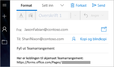 Sende en kobling til skjemaet i en e-post
