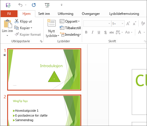 Viser PowerPoint 2016 med temaet Hvitt i bruk.