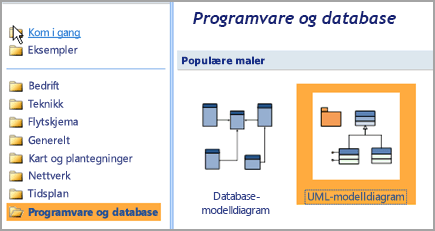 Velg programvare og Database