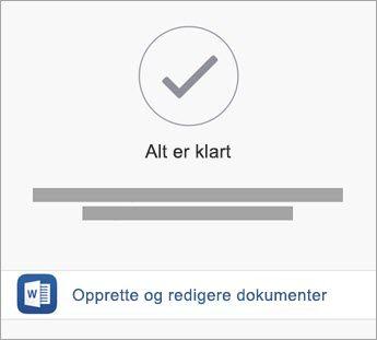 Trykk på Opprett og rediger for å begynne å bruke appen.