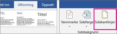 Sidekant-ikonet er uthevet på Utforming-fanen