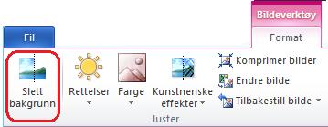 Fjern bakgrunn-knappen på Bildeverktøyformat-fanen eller på båndet i Office 2010