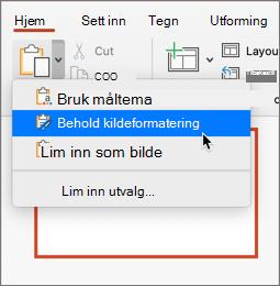 Lim inn og behold kilde formatering