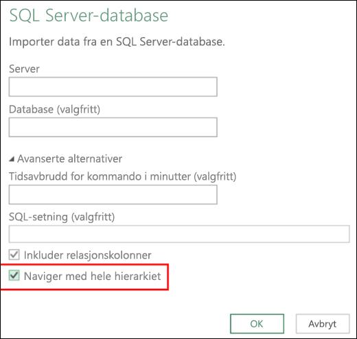 Excel Power BI forbedret relasjonsdatabasekoblinger