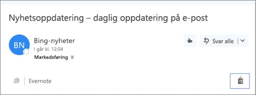Skjermbilde av et utdrag fra den øverste delen av en e-postmelding med Store-ikonet uthevet. Når du klikker på ikonet, åpnes Tillegg for Outlook-vinduet, der du kan bla gjennom og installere tillegg.