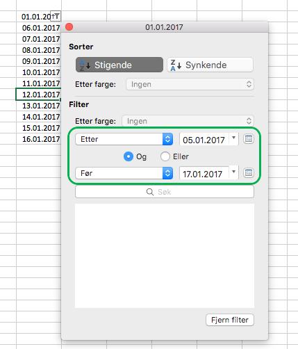 Filtrer datoverdier i Excel for Mac