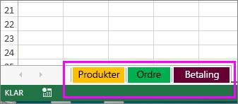 Arbeidsbok som viser arkfaner med ulike farger