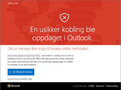 Outlook har oppdaget et usafe-kobling.