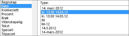 Dialogboksen Formater celler, Dato-kommandoen, type 14.03.12 kl. 13:30