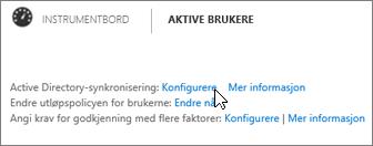 Velg Konfigurer ved siden av Active Directory-synkronisering